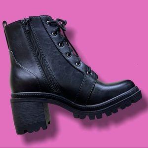 Soda Indiana Black Military Lug Sole Combat Boots
